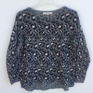 LOFT Cheetah Print Scoop Neck Sweater Gray XS